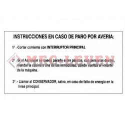 ROTULO ALUMINIO INSTRUCCIONES AVERIA