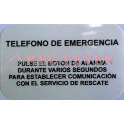ROTULO ADHESIVO TEXTO TELEFONO EMERGENCIA ASCENSOR