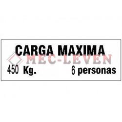 ROTULO ALUMINIO CARGA MAXIMA 450KG/6P