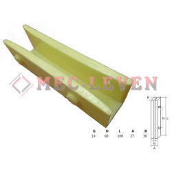 ELEVATOR GUIDE SHOE L-100MM - 14MM GUIDE
