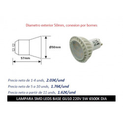 LAMPARA SMD LED BASE GU10 220V 5W 6500K DIA